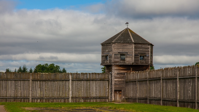 The fort wall and lookout tower of Fort Vancouver National Historic Site