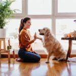 Woman playing with dog in new home
